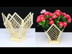 Today I will show you How to make flower pot at home out of Popsicle sticks/Ice cream sticks. Making this diy flower pot is very easy and simple. Popsicle Stick Crafts House, Popsicle Sticks, Craft Stick Crafts, Craft Sticks, Plate Crafts, Yarn Crafts, Flower Pot Crafts, Paper Flowers Craft, Flower Pots