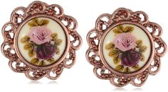 1928 Jewelry Manor House Rose Gold-Tone Clip-On Earrings *** If you love this, read review now : Jewelry Trends