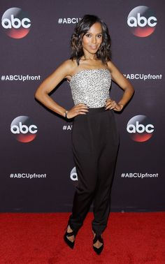 Kerry Washington dazzled in a sequined Alice + Olivia jumpsuit at ABC's annual upfront.
