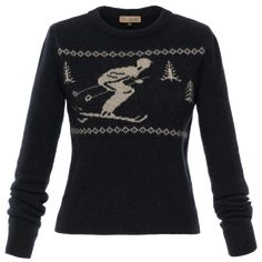 Cosy crewneck pullover with a cute intarsia ski motif across the front. Made from supersoft dark blue cashmere mix with ribbed hem and cuffs. Ribbon Skirts, Working Man, Piece Of Clothing, Dark Blue, Cashmere, Crew Neck, Pullover, Long Sleeve, Sleeves