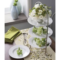 Shop Cambridge Satin Nickel 3-Tier Stand.  Made of sturdy iron with a nickel-plated finish, this three-tier stand provides a space-saving solution to stacking dinner plates or displaying buffet items.  Plates not included.