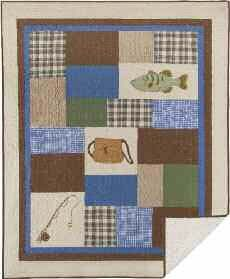 Hook, Line & Sinker Fishing Quilted Throw 50 x 60