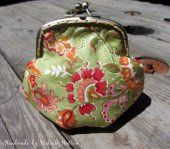 Handmade Fantasy Green Asian Floral Artist Brand Cotton Kiss Clasp Coin Purse, Change Purse, Coin Pouch  #thecraftstar