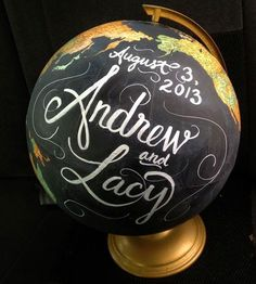 "Yes, this one is mine.  My amazingly talented friend, Kaycee Smith, painted this old globe for our gameroom.  It reads ""He's got the whole world in his hands"" and I adore it! I&#8…"