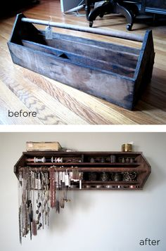 Vintage old metal tool box repurposed into wall jewelry display storage rack; for arts and crafts show booth, retail display or cottage style home decor; Old Tool Boxes, Wooden Tool Boxes, Wall Organization, Jewelry Organization, Jewellery Storage, Jewellery Display, Necklace Storage, Old Tools, Diy Storage