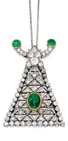 Platinum, 18 Karat Gold, Emerald and Diamond Pendant, Cartier, Paris Suspending a flexible triangular-shaped pendant set with variously-shaped diamonds weighing approximately 1.95 carats, accented by three cabochon emeralds, completed by a platinum chain, length 16 inches, pendant signed Cartier Paris, with French assay marks.