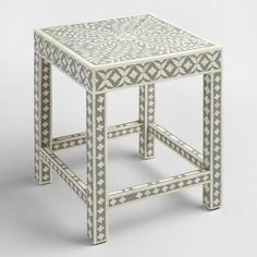 One of my favorite discoveries at WorldMarket.com: White and Gray Bone Inlay Accent Table