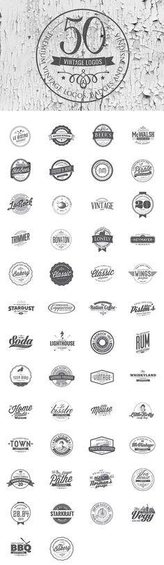 50 Vintage Logo Templates for Premium Members – retro Badge Design, Logo Design Template, Logo Templates, Rundes Logo, Logo Branding, Branding Design, Layout Design, Web Design, House Design