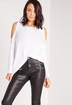 Missguided - Cold Shoulder Top White