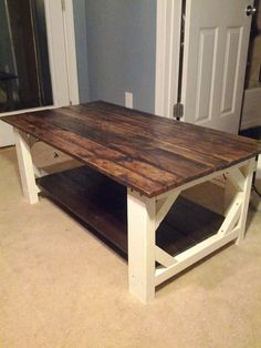 I would love to have one of these for a new den table - Handmade Farmhouse Style Coffee Table Local by parkerandbriggs, $325.00. Jon builds all the products and uses recycled materials - beautiful !
