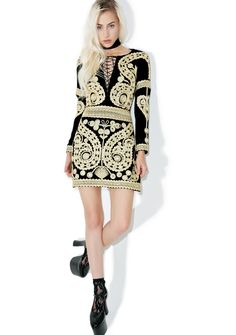 For Love & Lemons Ornate Velvet Mini Dress