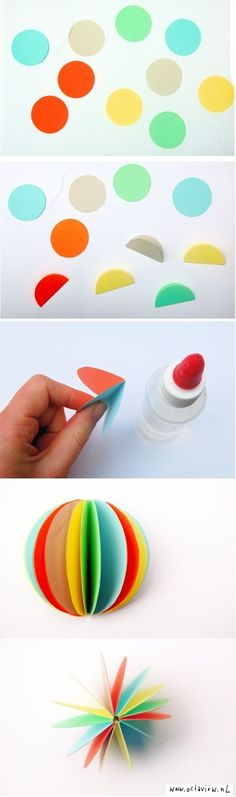 #DIY #Paper multicolored paper ball Pom Pom alternative for party decorations or just a kids toy. Craft idea! Make little ones for kitty cat toys :)