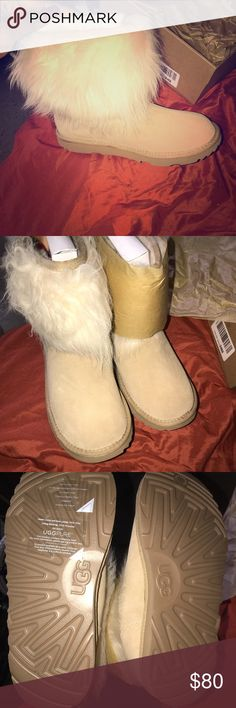Ugg boots I recently purchased a pair of furry ugg boots big kids size 6 & women's size 8 they're very beautiful never worn before I just need the extra money rn UGG Shoes Ankle Boots & Booties