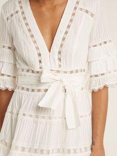 Corsail lace-insert cotton dress | Zimmermann | MATCHESFASHION.COM Ivory Dresses, Cotton Dresses, Boho Dress, Lace Dress, White Flowy Dress, Clothes 2019, Lace Insert, Modern Outfits, Beautiful Outfits