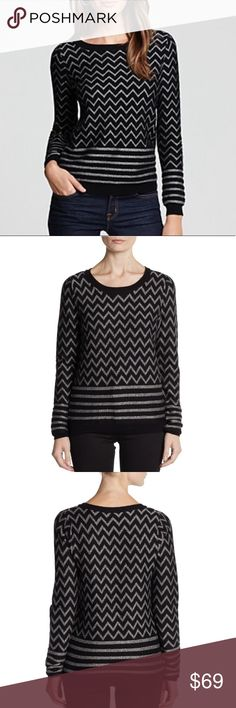 Joie Hideaki metallic zigzag sweater This is the fun Hideaki sweater by Joie. It features a fun metallic silver and black design in a comfy, flattering style. Super soft nylon, rayon, wool, polyester, metallic, and cashmere blend. In wonderful condition. Size M. Joie Sweaters Crew & Scoop Necks