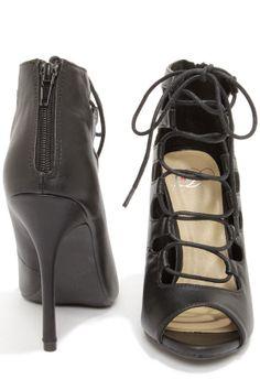 Cute Black Heels - Peep Toe Heels - Lace-Up Heels - Black Booties