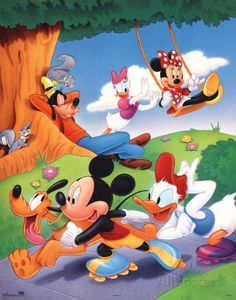 Mickey Mouse and Friends Rollerblading Poster