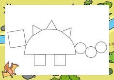 Dzień Dinozaura - Kształty / Stwórz swojego dinozaura do druku Dinosaur Activities, Dinosaur Crafts, Preschool Activities, Baby Prints, Kids Learning, Homeschool, Symbols, Letters, Shapes