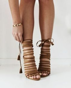 Brown strappy heeled sandals- How to wear the lace up heels http://www.justtrendygirls.com/how-to-wear-the-lace-up-heels/