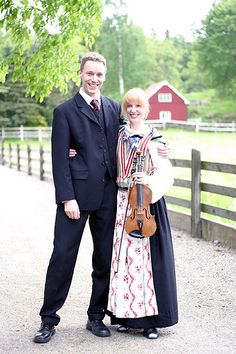 "Me and Magnus on a couple of friends wedding. I was playing the violin in the church and outside. The clothes are a swedish folk costume that my mum has made by hand. The ""folkdräkt"" as it is called in swedish is from Tunge in Bohuslän."