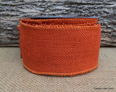 "Orange Burlap Wired Ribbon 2 1/2"" wide,  Natural Jute.  One of 17 colors of burlap ribbon available by the yard, 3 yard or 10 yard length from the CottageCraftsOnline.com shop on Etsy."
