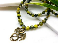 Men Women Jewelry Yellow Turqouise Healing Gemstone Necklace Antique Bronze Dragon Handmade Beaded Necklace Christmas Gift (Item # LBE144) by TheLoveBabyCompany on Etsy