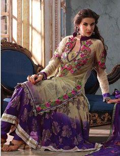 $78.93 Beige Brown and Bluish Purple Net Full Sleeve Designer Salwar Kameez 16418