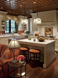 Small Open Concept Kitchen - Warmth and coziness.. I love open kitchens .. so much more room to entertain.