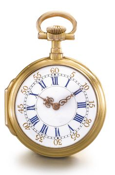 PATEK PHILIPPE AN 18K YELLOW GOLD AND DIAMOND-SET OPEN-FACED WATCH 1880 NO 63155 • jeweled gilt cylinder movement, signed and numbered gold cuvette • white enamel dial, blue Roman numerals, gilt Arabic outer ring, fine gold hands • case with applied diamond-set monogram • case and cuvette signed