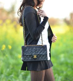classic 255 double flap chanel bag black quilted lambskin on shoulder