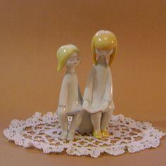 Vintage Porcelain Hungarian Hollohaza ART DECO SWEET READING GIRLS Handpainted  | eBay