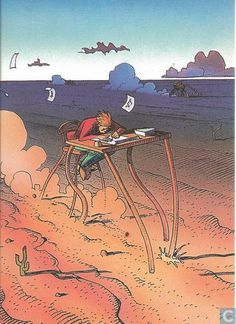 Trading cards - Moebius (collector cards) - Promo card (Fantasy Art) Jean Giraud, Nogent Sur Marne, Moebius Art, Collector Cards, Fairytale Art, Fox Art, Science Fiction Art, Comic Book Artists, Graphic Novels