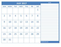 July 2017 Calendar with Notes