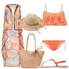Outfit+colorato+per+una+giornata+al+mare+composto+da+copricostume+in+chiffon+multicolore,+bikini+con+coppa+imbottita+removibile+senza+ferretto,+infradito+in+similpelle+e+tessuto.+Completo+con+shopping+bag+e+cappello+da+sole+di+paglia.