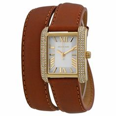 07200a7e4 Michael Kors Mini Emery Silver Dial Brown Leather Ladies Watch MK2360 Wrap  Around