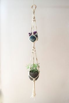 Tiered Macrame Plant Hanger / 35 Inch / 100% Cotton / Home decor / Double Plant Hanger by MangoAndMore on Etsy