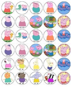 30 Peppa Pig And Friends Cup Cake Toppers Fairy Cake Birthday Party: