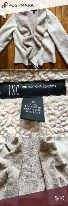 INC Vegan Faux Suede and Wool Off White Jacket From the brand INC International Concepts. Size medium. 100% Polyester. Amazing winter jacket. Faux suede outside and faux wool lining. 3 clasp closure. No pockets. Warm and stylish. One blue pen stain on left arm as shown in picture. Otherwise in great condition. Perfect essential item! INC International Concepts Jackets & Coats