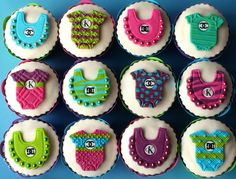 The designer labels are totally @Ashton Jenkins Jenkins Smith !!!! Cupcake Toppers. Baby Boy Girl Fashion Edible Cake Decorations for a Baby Shower, Gender Reveal or Birthday