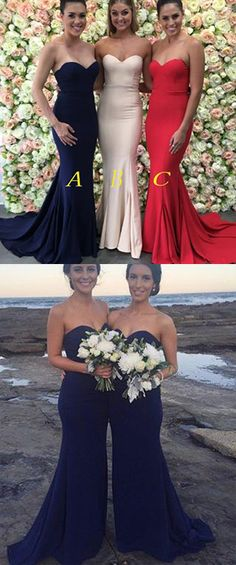 3517d371026 Navy Blue Mermaid Sweetheart Strapless Sweep Train Bridesmaid Dress With  Pleats