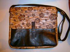 Flowers Messenger Leather Bag, 15 inch Genuine Leather Laptop Bag, Handmade bag, Leather Laptop Bag, Made to order Bag