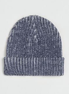 Navy and White Plated Beanie