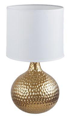 ROZIN Rábalux - stolová lampa - biely plast+zlatá keramika