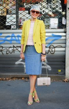 Light blue pencil skirt, lace top, yellow blazer, light green heels