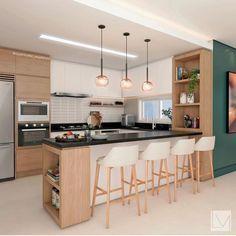 Open Plan Kitchen Living Room, Kitchen Sets, Home Decor Kitchen, Kitchen Furniture, Home Kitchens, Kitchen Bar Design, Kitchen Layout, Interior Design Kitchen, Kitchen Showroom
