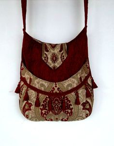 Red Chenille Tapestry Gypsy Bag Messenger Bag by piperscrossing