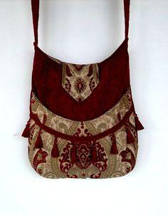 Red Chenille Tapestry Gypsy Bag Messenger Bag by piperscrossing Boho Hippie, Bohemian, Purple Velvet, Black Velvet, Gypsy Bag, Hippy Chic, Embroidery Bags, Fringe Bags, Boho Bags