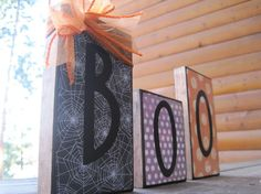 2x4 boo blocks....I saw blocks like these made at a craft show this past weekend....so cute & simple to make!  Will definitely be doing some of these!!!