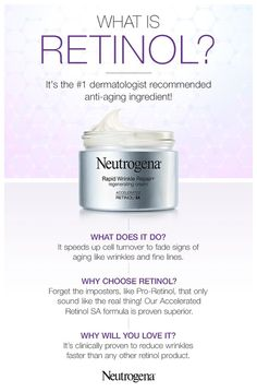 If you haven't tried retinol yet, prepare to have your skincare routine transf. Neutrogena Neutrogena We're Anti-Wrinkles If you haven't tried retinol yet, prepare to have your skincare routine transformed forever. For those new to this powerful in Anti Aging Cream, Anti Aging Skin Care, Natural Skin Care, Natural Beauty, Skin Care Regimen, Skin Care Tips, Goji, Facial Care, Neutrogena