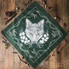 A screen printed cotton bandana featuring a fox head with dogwoods and two twisting snakes. Printed locally in Nashville, TN and illustrated by. Bandanas, Pocket Squares, Botanical Illustration, Illustration Art, Bandana Design, Dark Art Illustrations, Textiles, Graphite Drawings, Scarf Design